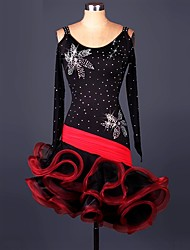 Latin Dance Dresses Performance Spandex Lace Organza Ruffles Crystals/Rhinestones 1 Piece Long Sleeve High Dress
