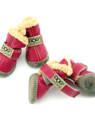 Dog Boots / Shoes Snow Boots Keep Warm Waterproof Fashion Solid Brown Red Blue Wine Dark Green For Pets