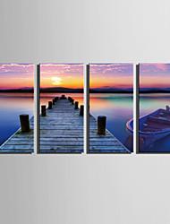 Недорогие -Пейзаж Холст для печати 4 панели Готовы повесить , Вертикальная