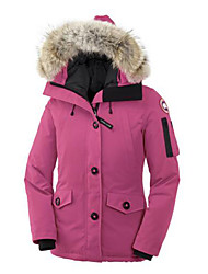 Women's Regular Down Coat,Simple Casual/Daily Solid-Polyester White Duck Down Long Sleeve Blue / Pink / Red / White / Black