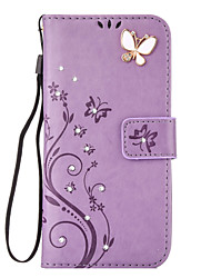cheap -Case For Samsung Galaxy S8 Plus S8 Card Holder Wallet Rhinestone with Stand Flip Embossed Full Body Cases Butterfly Hard PU Leather for