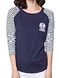 cheap -Fall Women Clothing Tops Striped Round Neck Long Sleeve Street Chic Youth Casual Women Tops Blue/White/Black/Gray