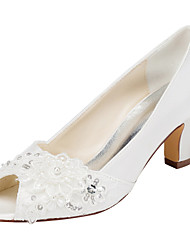 Women's Heels Spring  Stretch Satin Wedding / Party & Evening / Dress Chunky Heel Crystal / Pearl Ivory / White