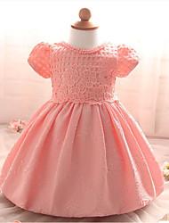 partido / cocktail patchwork dresspolyester da menina do verão branco / rosa