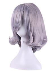 Donna Parrucche sintetiche Senza tappo Lisci Kinky liscia Grigio Con frangia Parrucca naturale costumi parrucche