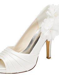 Women's Heels Spring / Summer Platform Stretch Satin Wedding / Party & Evening / Dress Stiletto Heel Applique / Ruffles Ivory / White