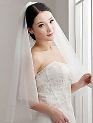 cheap -One-tier Cut Edge Wedding Veil Elbow Veils With Flower Comb Tulle