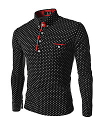 Men's Going out Casual/Daily Beach Simple Spring Fall Shirt,Polka Dot Button Down Collar Long Sleeves Cotton Thin