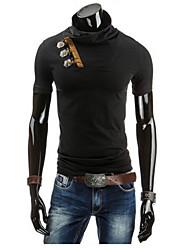 economico -T-shirt Da uomo Casual Semplice Estate / Autunno,Tinta unita Colletto alla coreana Cotone Bianco / Nero Manica corta Medio spessore
