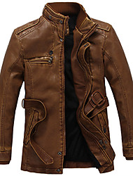 Men's Plus Size / Casual/Daily / Work Vintage / Simple Coat,Solid Stand Long Sleeve Fall / Winter Black / Brown PU Medium