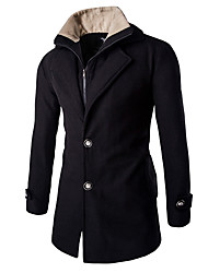cheap -Men's Casual Work Winter Spring Fall Coat,Solid Long Sleeve Long Cotton Polyester