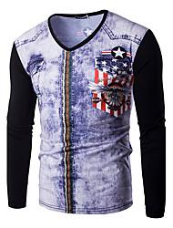 abordables -Hombre Estampado - Algodón Camiseta, Escote Redondo
