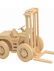 cheap -Fork Lift Truck 3 d Wooden Simulation/Stereo DIY Assembly Model Educational Toys
