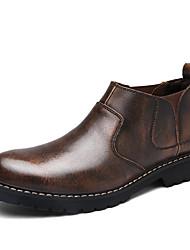 baratos -Homens sapatos Cashmere / Couro Outono / Inverno Conforto Botas Botas Cano Médio Cinzento / Café