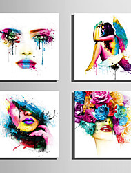cheap -E-HOME Stretched Canvas Art The Color of  Woman Decoration Painting  Set of 4
