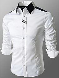 Men's Daily Casual All Seasons Shirt,Solid Color Block Classic Collar Long Sleeves Cotton Medium