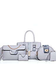 cheap -Women's Bags PU Bag Set 6 Pieces Purse Set for Casual Gray / Brown / Red