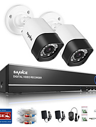 abordables -sannce® 1.0mp 720p 2ch hd 4 in1 tvi h.264 dvr in / outdoor sistema de cámara de seguridad cctv