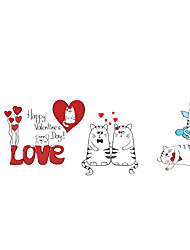 Valentine's Day Wall Stickers Cat Stickers Animals Decals for Family Home Decor