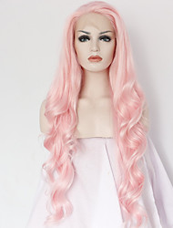 cheap -best natural looking long pink synthetic wavy lace front wig for white women cheap good quality natural wavy wigs heat resistant