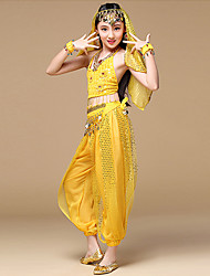 cheap -Shall We Belly Dance Outfits Women's Performance Polyester Sleeveless Dropped Tops Pants Waist Accessory