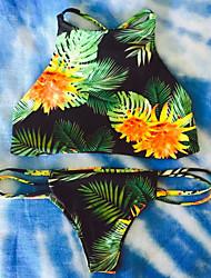 Kvinders Polyester Halterneck Blomstret / Geometrisk Bikini