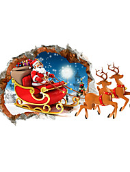 cheap -3D Merry Christmas Santa Claus Gift Hole PVC Material Decorative Skin Wall Stickers