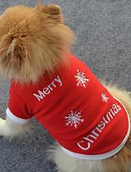 preiswerte -Hund T-shirt Hundekleidung Schneeflocke Rot Polar-Fleece Kostüm Für Frühling & Herbst Winter Herrn Damen Weihnachten