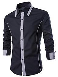 Masculino Camisa Social Para Noite Trabalho Moda de Rua Todas as Estações,Estampa Colorida Algodão Colarinho de Camisa Manga Longa Média