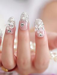 24pcs las uñas postizas novia linda parche de la pieza de arte de uñas uñas acabadas de productos flor de plata obra de arte de uñas