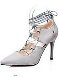 cheap -Women's Heels Ankle Strap Suede Party & Evening Black / Gray / Almond / Burgundy