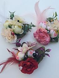 economico -Bouquet sposa Rose Fiore all'occhiello Matrimonio Partito / sera Raso Pelle