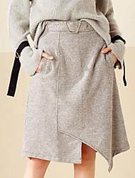 Da donna Gonne-Linea A Tinta unitaA vita medio-alta Semplice Asimmetrico Casual Cotone Elasticità Micro-elastico Con molla / Autunno