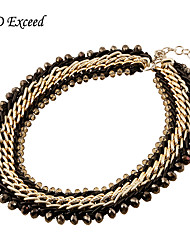 Luxurious Crystal Beads Braided Knitted Alloy Choker Statement Necklaces For Women NL151065