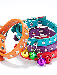 Cat / Dog Collar Adjustable/Retractable / Handmade / With Bell Rhinestone Red / Black / Blue / Pink / Purple / Orange / Rose PU Leather