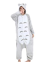 economico -Pigiama Kigurumi Cartoni animati Anime Totoro Pigiama intero Pigiami Costume Visone velluto Grigio Cosplay Per Per adulto Pigiama a