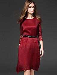 abordables -Vaina Vestido Sofisticado,Un Color Escote Redondo Sobre la rodilla 3/4 Manga Rojo / Negro Poliéster Otoño Tiro Medio Rígido Medio