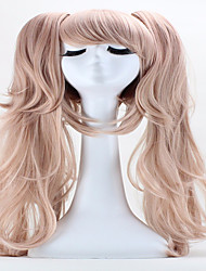 Halloween Holiday Party Wig 65cm Anime Hair Junko Enoshima Double Ponytail  Clip Long Synthetic  Cosplay Hair Wig