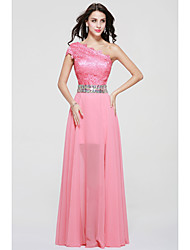 A-Line One Shoulder Floor Length Chiffon Lace Bridesmaid Dress with Beading Lace by MYF