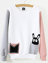 Women's Casual/Daily Cute Sweatshirt Color Block Embroidered Round Neck Fleece Lining Inelastic Cotton Long Sleeve Winter
