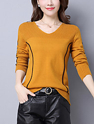cheap -Women's Long Sleeves Wool Pullover - Striped V Neck