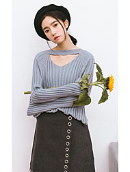 Women's Casual/Daily Simple Regular Cardigan,Solid Blue Brown Strapless Long Sleeve Faux Fur Fall Winter Medium Inelastic