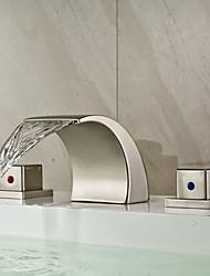 Modern A 3 fori Cascata with  Valvola in ceramica Due maniglie Tre fori for  Nickel spazzolato , Lavandino rubinetto del bagno