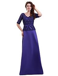 economico -a-line v-collo pavimento lunghezza pizzo satin madre del vestito sposa con bordo perline (s) perline in pizzo / nastro da xfls