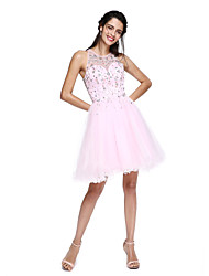 Ball Gown Jewel Neck Short / Mini Tulle Cocktail Party Dress with Beading by TS Couture®