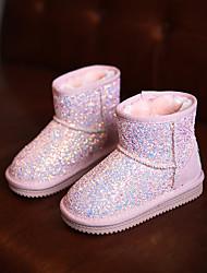 Girls' Boots Comfort Snow Boots Glitter Winter Casual Comfort Snow Boots Sparkling Glitter Flat Heel Black Purple Blushing Pink Flat