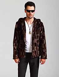 Men's Plus Size Street chic Fur Coat,Solid Hooded Long Sleeve Winter Brown Faux Fur Thick
