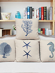cheap -4 pcs Linen Pillow Case, Graphic Prints Accent/Decorative