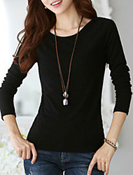 Women's Going out Casual/Daily Plus Size Street chic Spring Fall T-shirt,Solid Round Neck Long Sleeve Cotton Spandex Medium