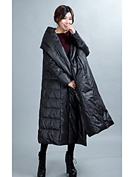 Women's Long Down Coat,Simple Active Going out Casual/Daily Solid-Polyester White Duck Down Long Sleeves Hooded
